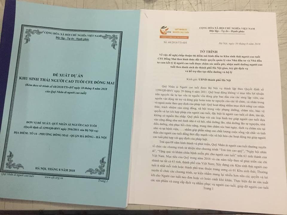 Ngày 10/8/2018 - Quỹ CFE chính thức đệ trình UBND TP Hà Nội xin dự án - Khu du lịch sinh thái người cao tuổi CFE Đồng Mai
